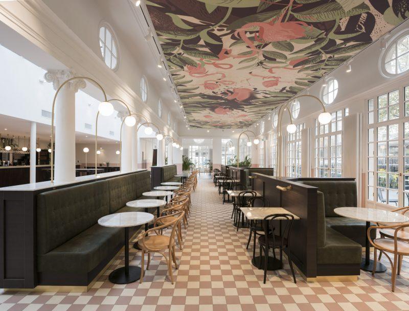 Akoestische decoratie in het Grand Cafe Flamingo in Antwerpen.